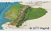 Satellite Panoramic Map of Ecuador, shaded relief outside, satellite sea