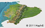 Satellite Panoramic Map of Ecuador, single color outside