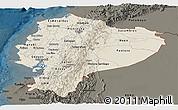 Shaded Relief Panoramic Map of Ecuador, darken