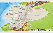 Shaded Relief Panoramic Map of Ecuador, physical outside