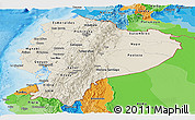 Shaded Relief Panoramic Map of Ecuador, political outside, shaded relief sea
