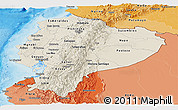 Shaded Relief Panoramic Map of Ecuador, political shades outside, shaded relief sea