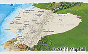 Shaded Relief Panoramic Map of Ecuador, satellite outside, shaded relief sea