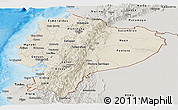 Shaded Relief Panoramic Map of Ecuador, semi-desaturated, land only