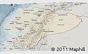 Shaded Relief Panoramic Map of Ecuador, semi-desaturated