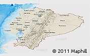 Shaded Relief Panoramic Map of Ecuador, single color outside