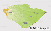 Physical 3D Map of Pastaza, cropped outside