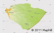 Physical Map of Pastaza, cropped outside