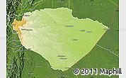 Physical Map of Pastaza, satellite outside
