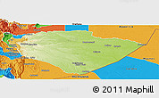 Physical Panoramic Map of Pastaza, political outside