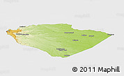 Physical Panoramic Map of Pastaza, single color outside