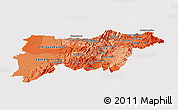Political Shades Panoramic Map of Pichincha, cropped outside
