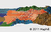 Political Shades Panoramic Map of Pichincha, darken