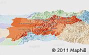 Political Shades Panoramic Map of Pichincha, lighten