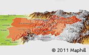 Political Shades Panoramic Map of Pichincha, physical outside