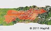 Political Shades Panoramic Map of Pichincha, satellite outside