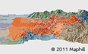 Political Shades Panoramic Map of Pichincha, semi-desaturated