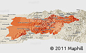 Political Shades Panoramic Map of Pichincha, shaded relief outside