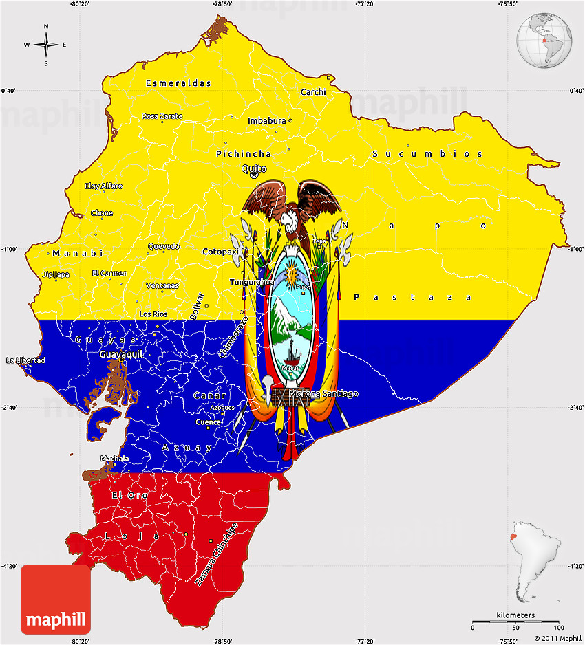 Flag Simple Map Of Ecuador - Colored outline map of ecuador