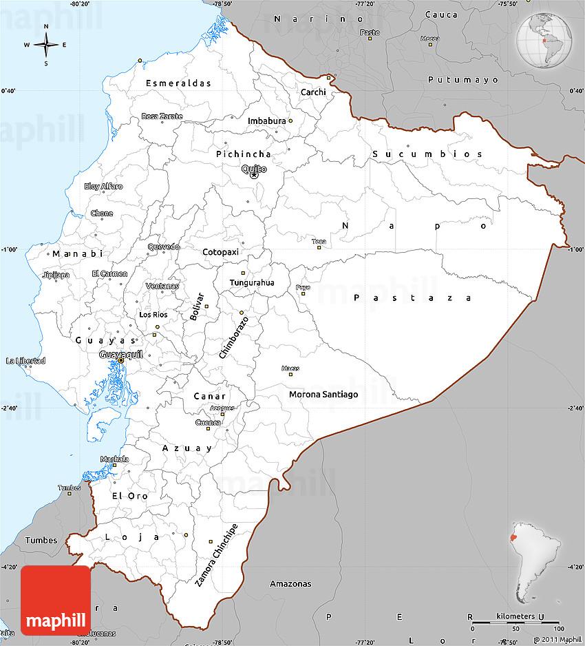 Gray Simple Map Of Ecuador - Map ecuador