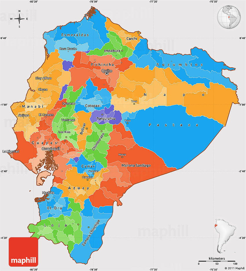 Political Simple Map of Ecuador cropped outside