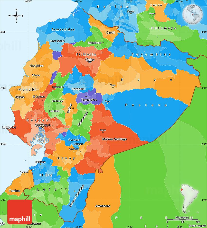 Political Simple Map Of Ecuador