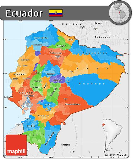 Free Political Simple Map of Ecuador single color outside borders