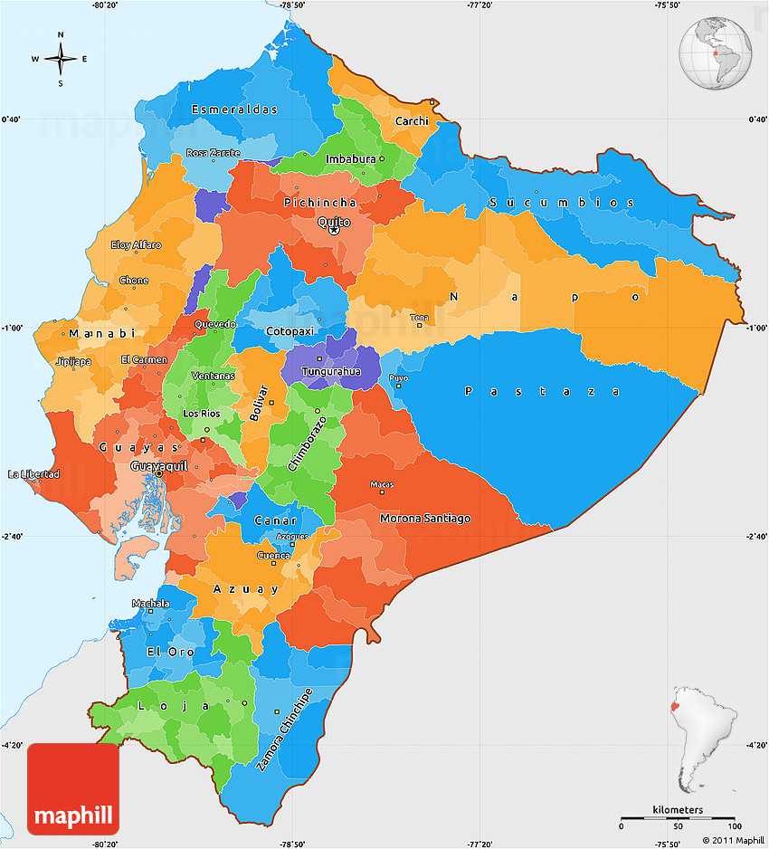 Political Simple Map Of Ecuador Single Color Outside - Colored outline map of ecuador