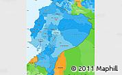 Political Shades Simple Map of Ecuador, political outside