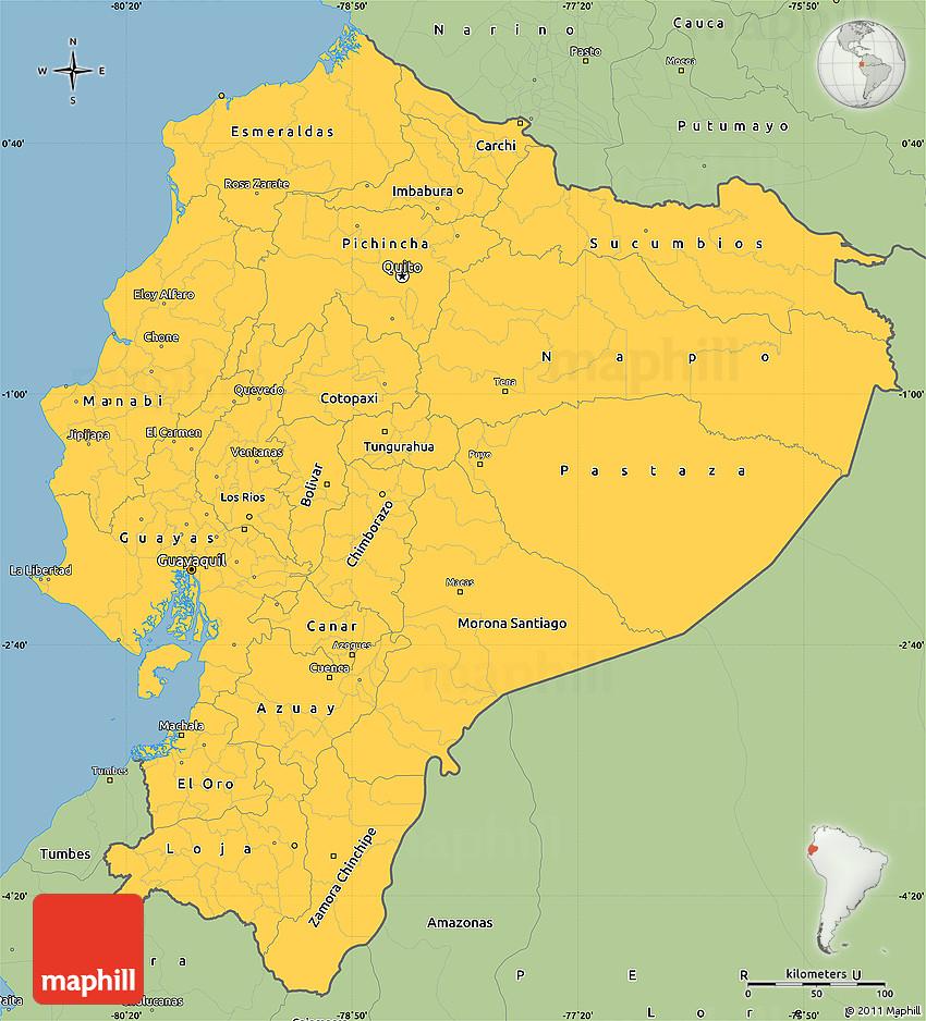 Savanna Style Simple Map Of Ecuador - Map ecuador