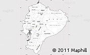 Silver Style Simple Map of Ecuador, cropped outside