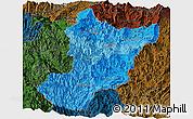 Political Shades Panoramic Map of Zamora Chinchipe, darken