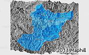Political Shades Panoramic Map of Zamora Chinchipe, desaturated