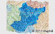 Political Shades Panoramic Map of Zamora Chinchipe, lighten