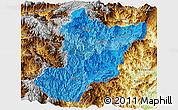 Political Shades Panoramic Map of Zamora Chinchipe, physical outside