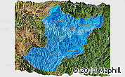 Political Shades Panoramic Map of Zamora Chinchipe, satellite outside