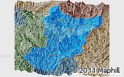 Political Shades Panoramic Map of Zamora Chinchipe, semi-desaturated