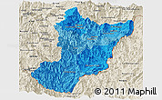 Political Shades Panoramic Map of Zamora Chinchipe, shaded relief outside