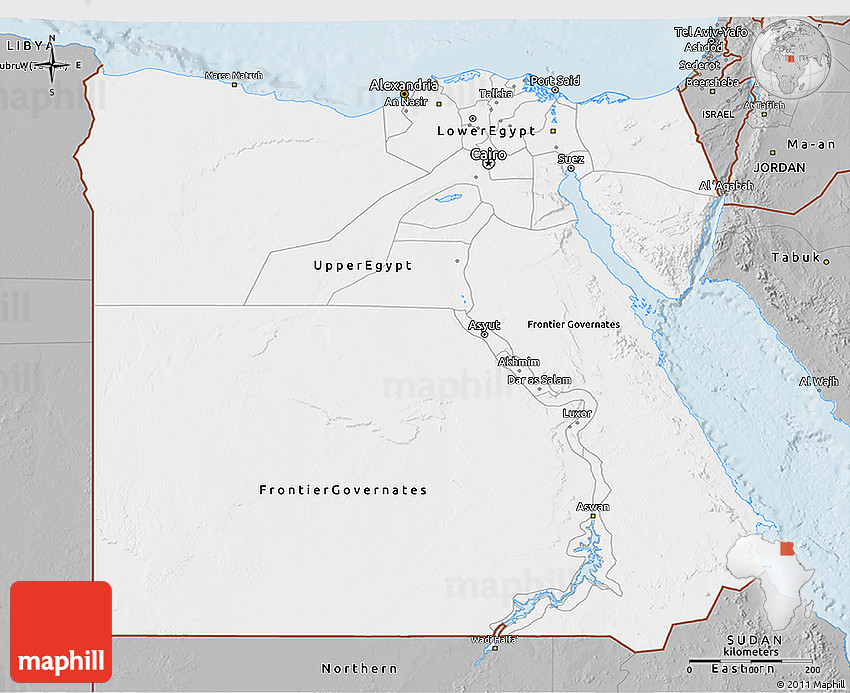 Gray D Map Of Egypt - Map of egypt 3d