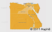 Political Shades 3D Map of Egypt, cropped outside