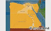 Political Shades 3D Map of Egypt, darken