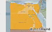 Political Shades 3D Map of Egypt, semi-desaturated