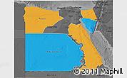 Political 3D Map of Frontier Governates, darken, desaturated