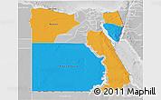 Political 3D Map of Frontier Governates, lighten, desaturated