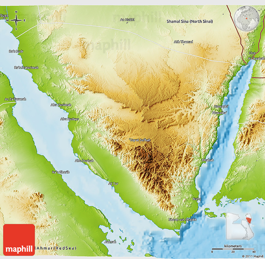 Physical 3D Map of Janub Sina (South Sinai)