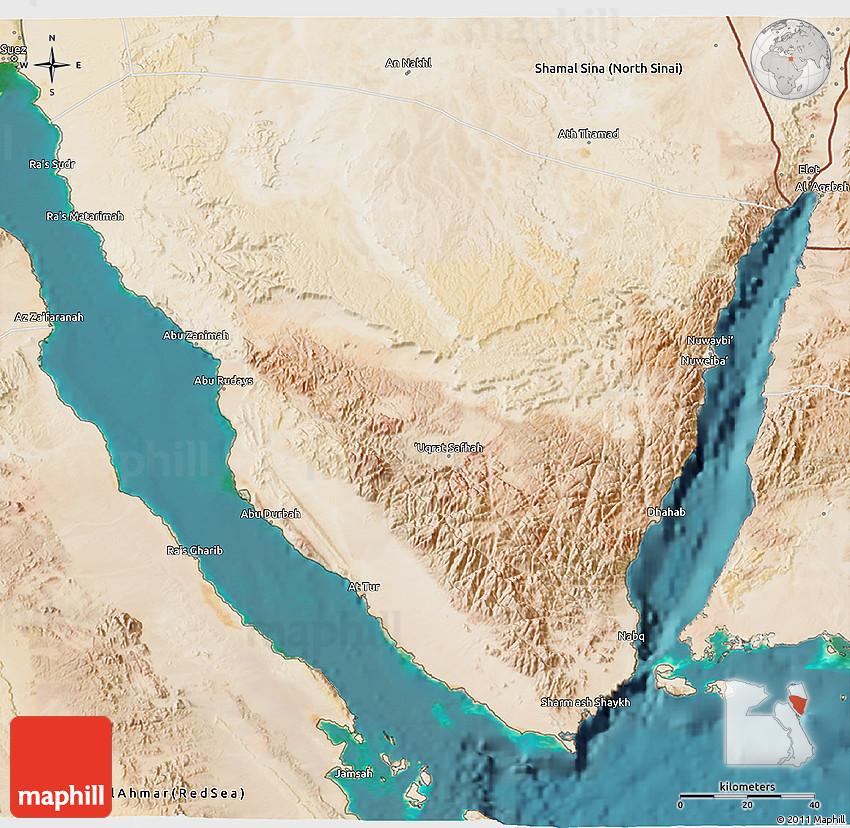Satellite D Map Of Janub Sina South Sinai - Map of egypt 3d