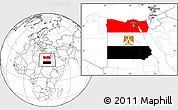 Flag Location Map of Egypt, blank outside