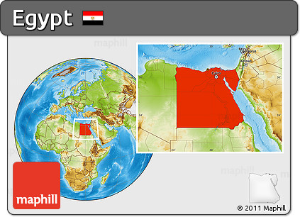 Physical Location Map of Egypt