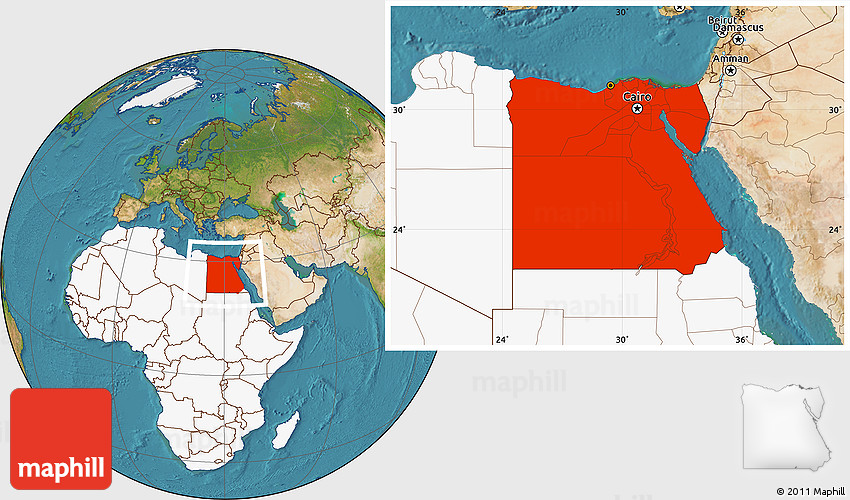 Satellite Location Map of Egypt highlighted continent