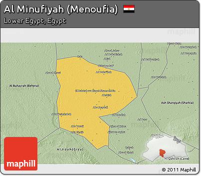 Free Savanna Style D Map Of Al Minufiyah Menoufia - Map of egypt 3d